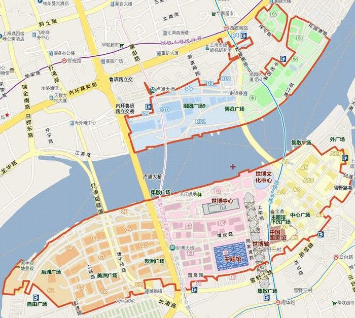 2010世博会场馆片区分布图一览